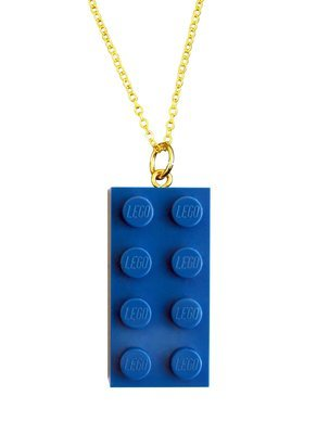 Dark Blue LEGO® brick 2x4 on a Gold plated trace chain (18
