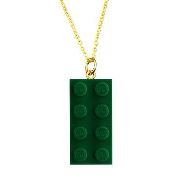 Dark Green LEGO® brick 2x4 on a Gold plated trace chain (18
