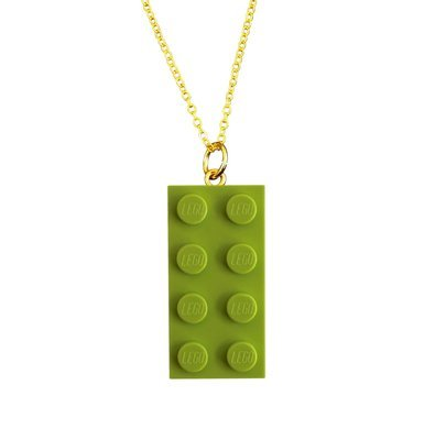 Light Green LEGO® brick 2x4 on a Gold plated trace chain (18