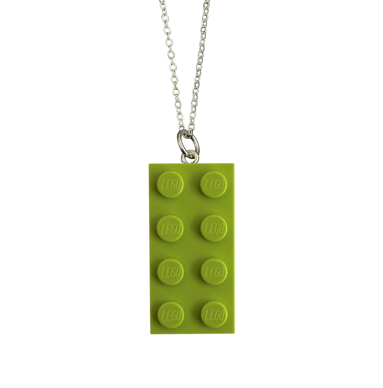 """Light Green LEGO® brick 2x4 on a Silver plated trace chain (18"""" or 24"""")"""
