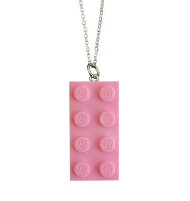 Light Pink LEGO® brick 2x4 on a Silver plated trace chain (18