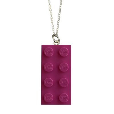 Dark Pink LEGO® brick 2x4 on a Silver plated trace chain (18