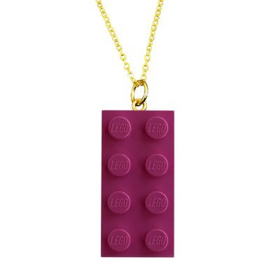 Dark Pink LEGO® brick 2x4 on a Gold plated trace chain (18