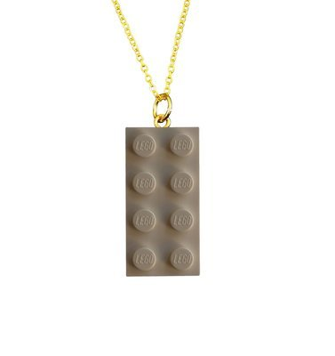 White LEGO® brick 2x4 on a Gold plated trace chain (18