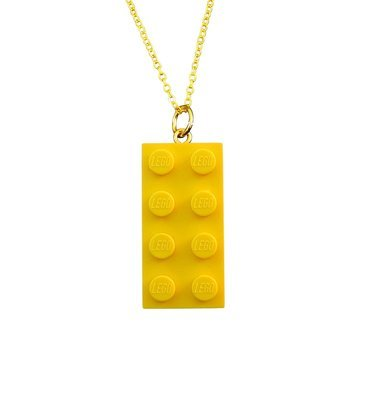 Yellow LEGO® brick 2x4 on a Gold plated trace chain (18