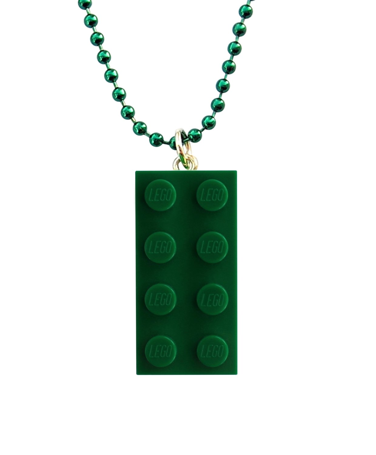 "​Dark Green LEGO® brick 2x4 on a 24"" Green ballchain"