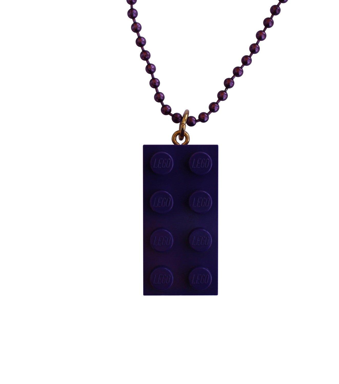 "Purple LEGO® brick 2x4 on a 24"" Purple ballchain"