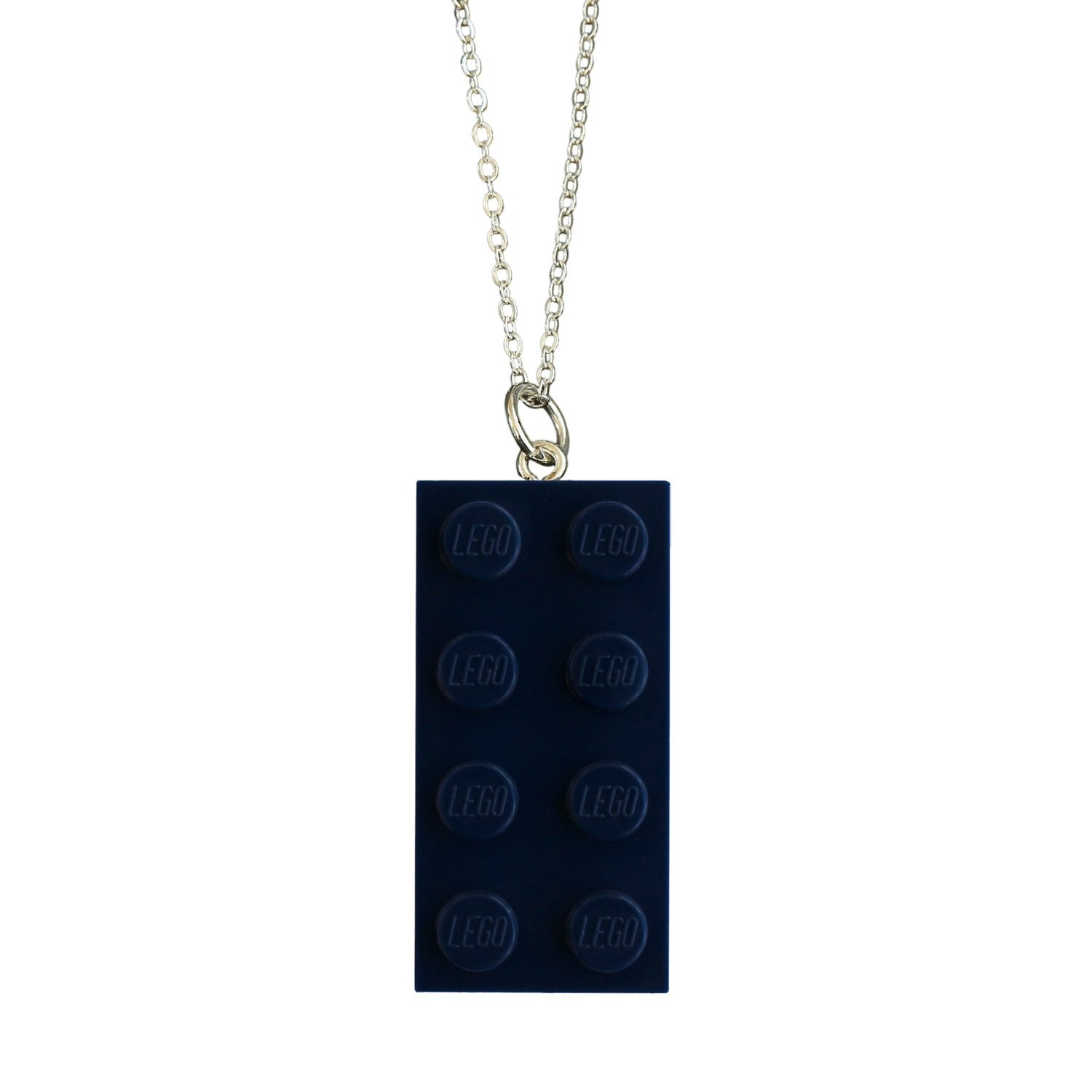 "​Navy Blue LEGO® brick 2x4 on a Silver plated trace chain (18"" or 24"")"