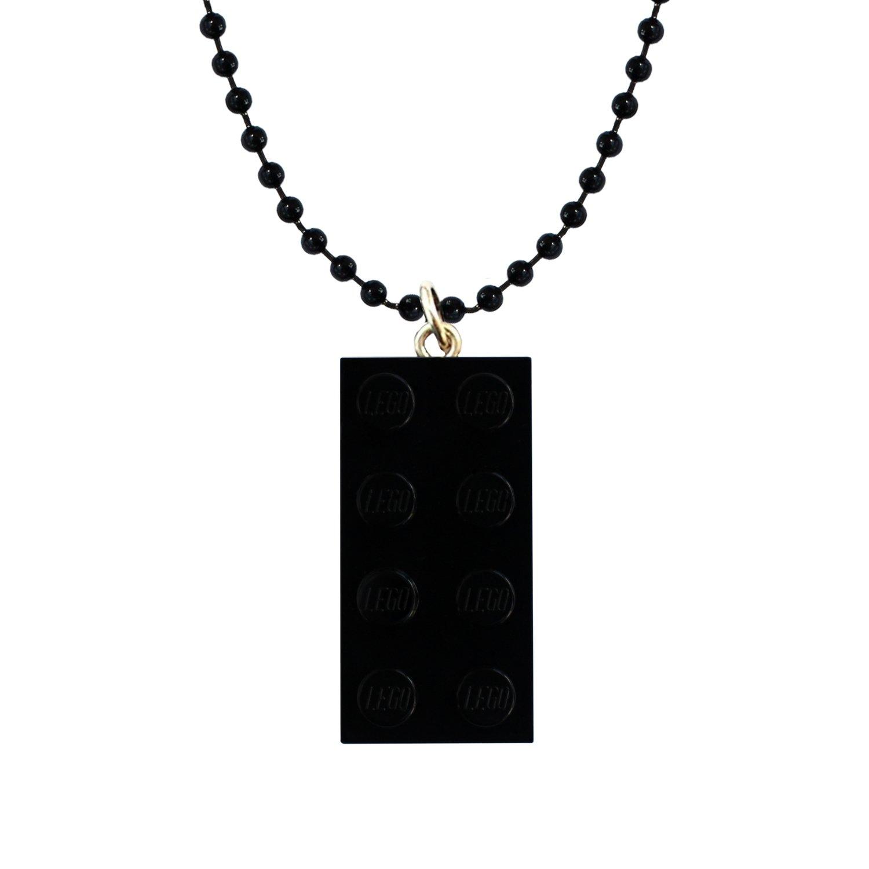 "Black LEGO® brick 2x4 on a 24"" Black ballchain"