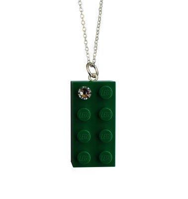 Dark Green LEGO® brick 2x4 with a 'Diamond' color SWAROVSKI® crystal on a Silver plated trace chain (18