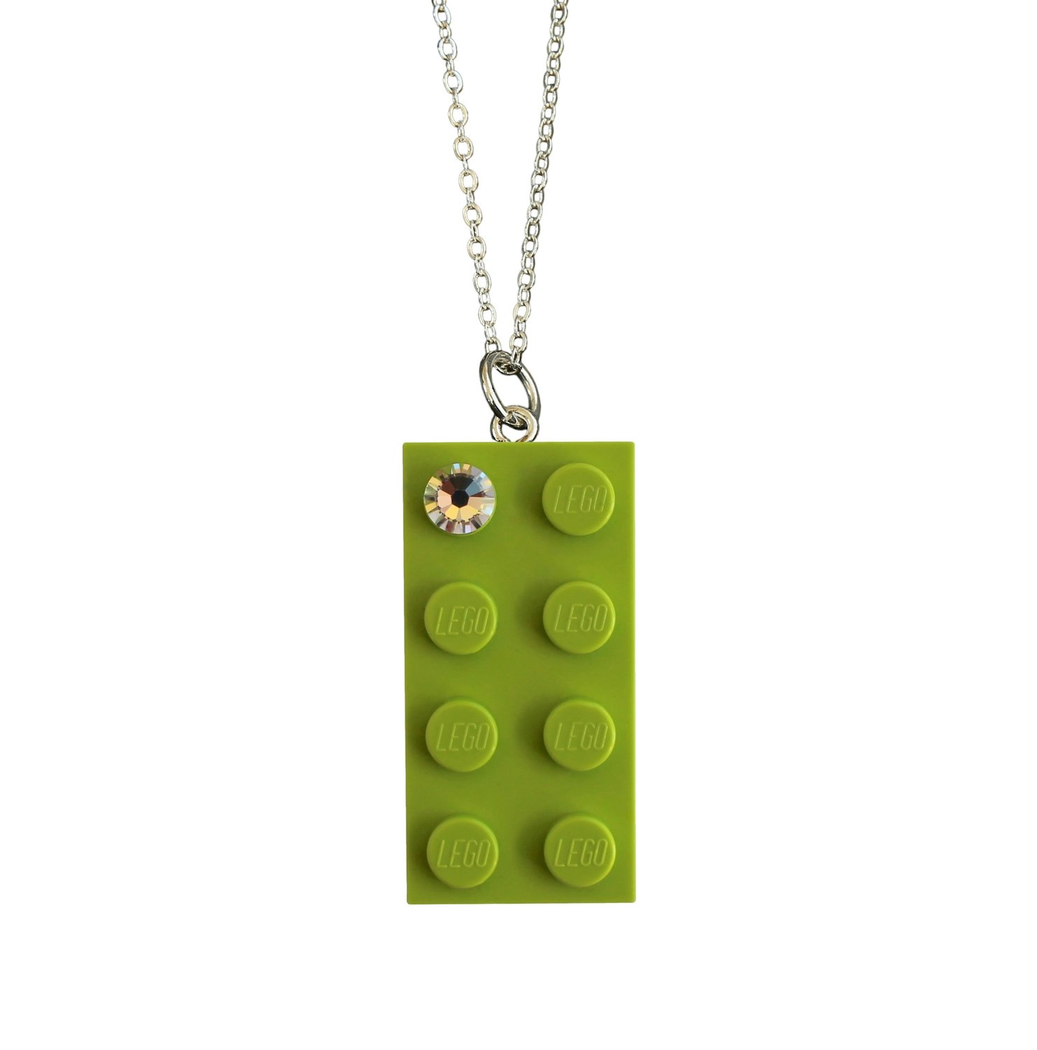 """Light Green LEGO® brick 2x4 with a 'Diamond' color SWAROVSKI® crystal on a Silver plated trace chain (18"""" or 24"""")"""