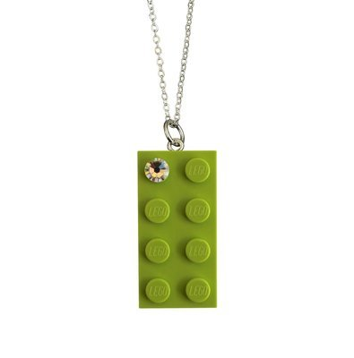 Light Green LEGO® brick 2x4 with a 'Diamond' color SWAROVSKI® crystal on a Silver plated trace chain (18