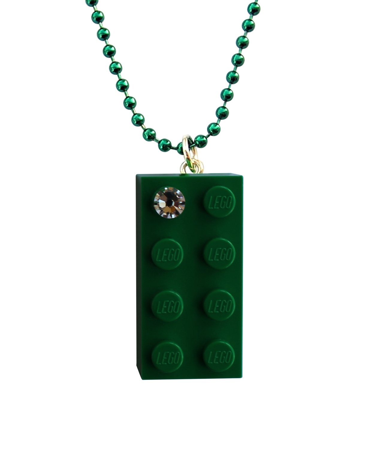 "Dark Green LEGO® brick 2x4 with a 'Diamond' color SWAROVSKI® crystal on a 24"" Green ballchain"