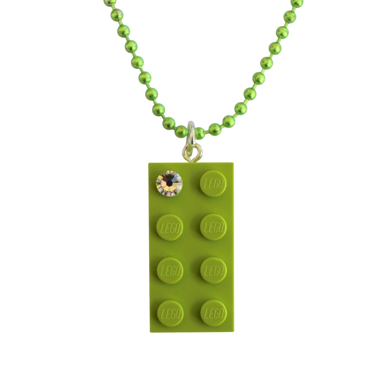 "Light Green LEGO® brick 2x4 with a 'Diamond' color SWAROVSKI® crystal on a 24"" Green ballchain"