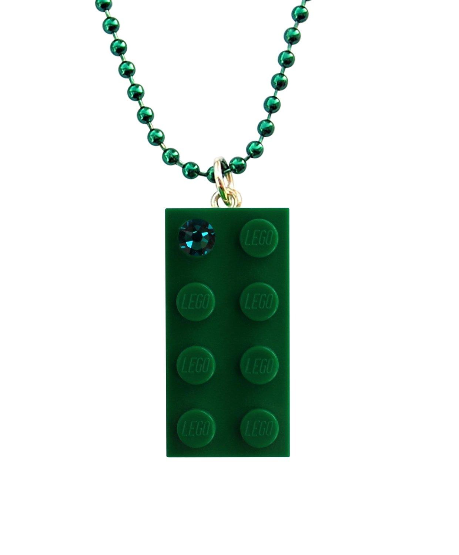 "Dark Green LEGO® brick 2x4 with a Green SWAROVSKI® crystal on a 24"" Green ballchain Length of the ballchain easily reducible"