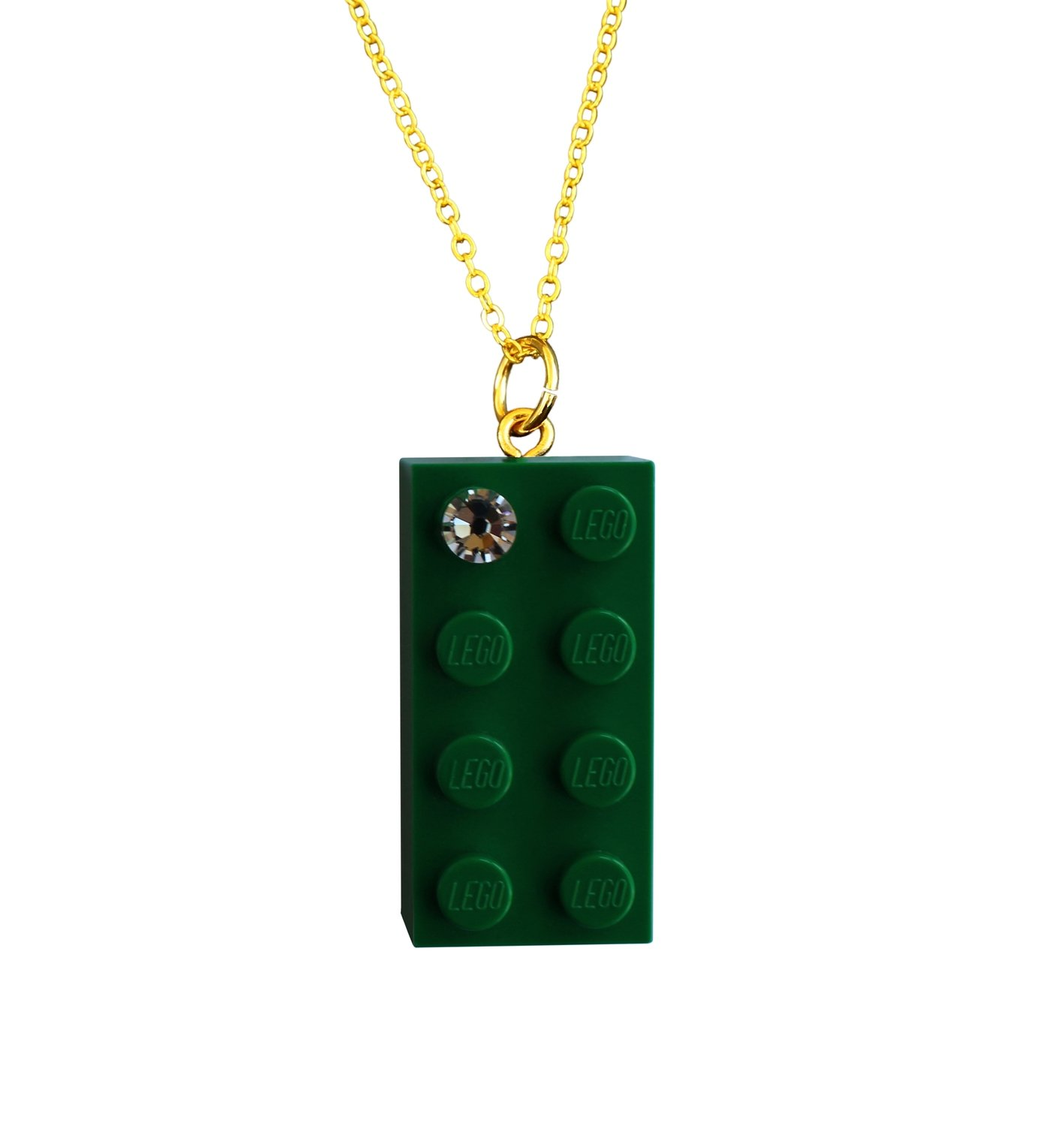 """Dark Green LEGO® brick 2x4 with a 'Diamond' color SWAROVSKI® crystal on a Gold plated trace chain (18"""" or 24"""")"""