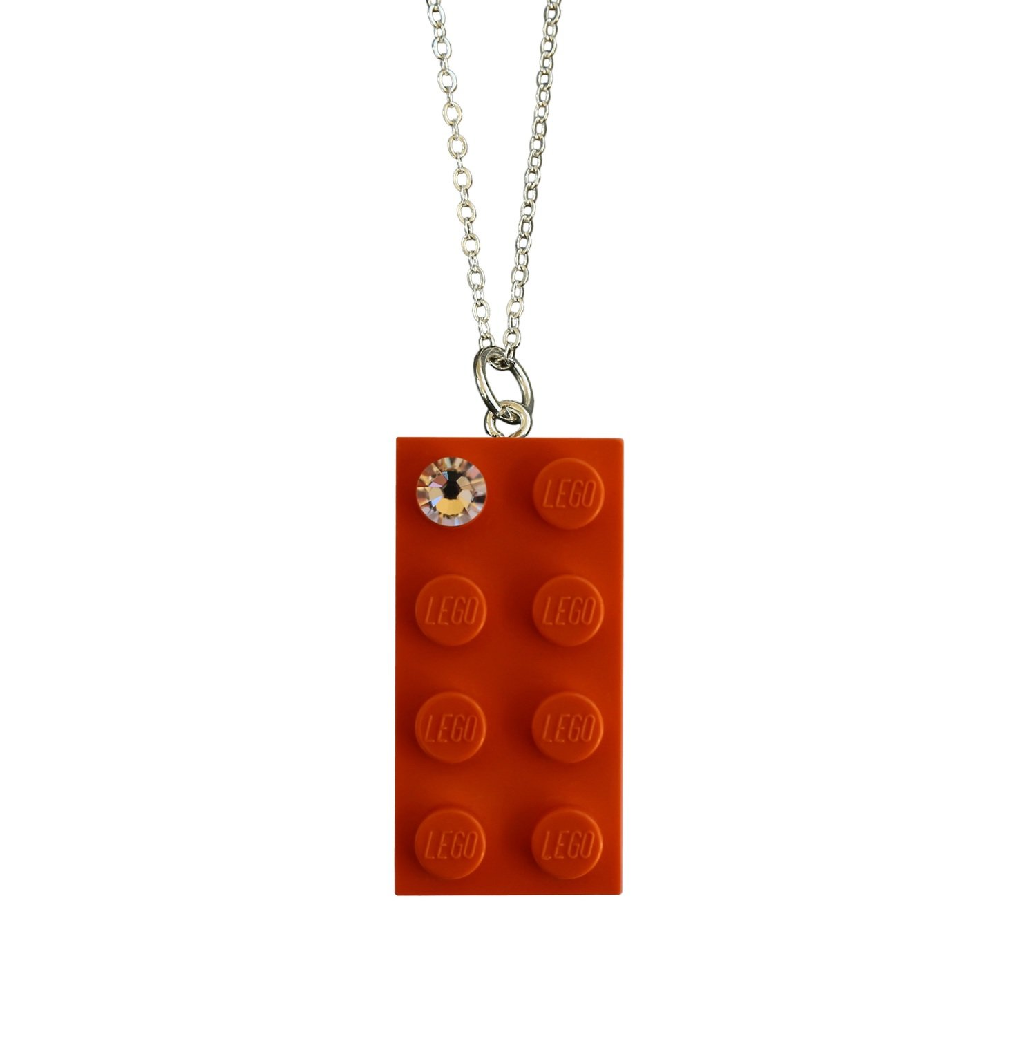"""Orange LEGO® brick 2x4 with a 'Diamond' color SWAROVSKI® crystal on a Silver plated trace chain (18"""" or 24"""")"""
