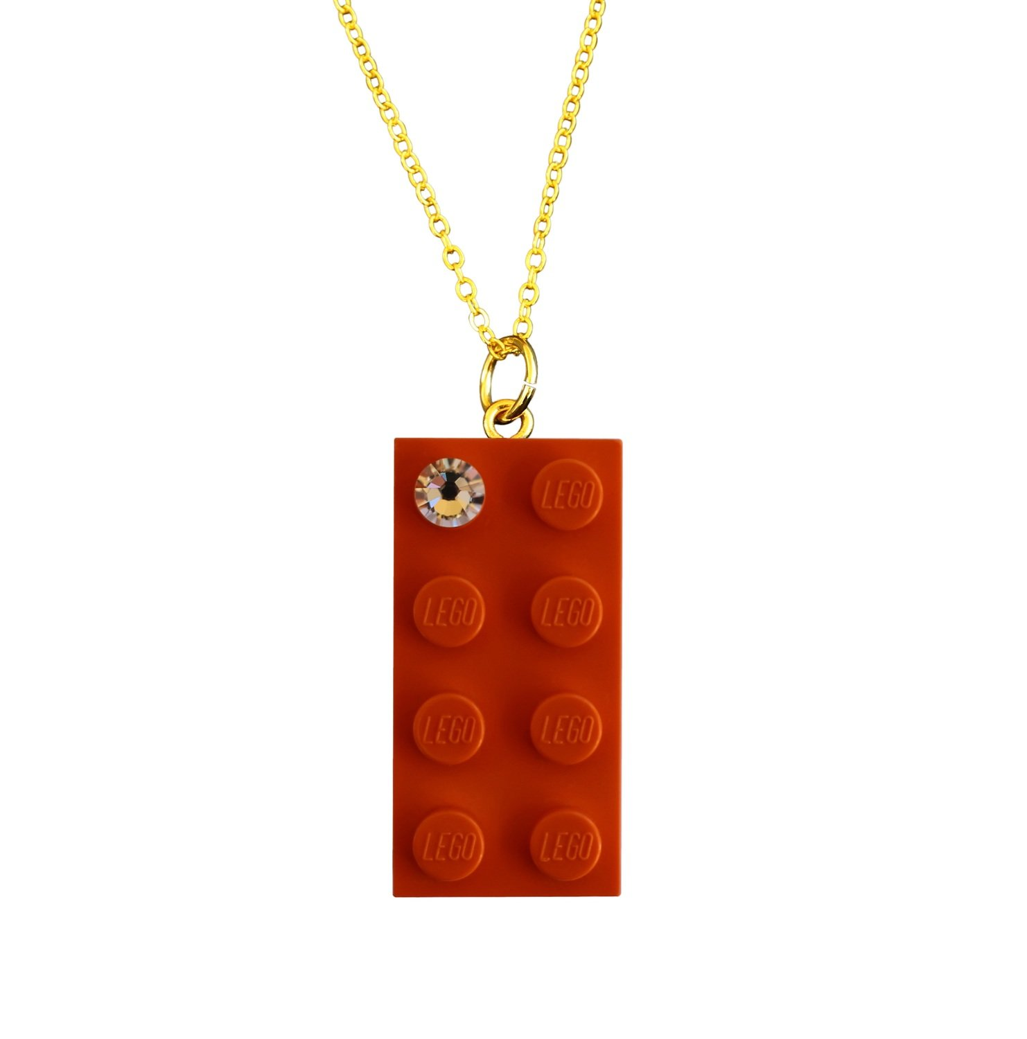 "​Orange LEGO® brick 2x4 with a 'Diamond' color SWAROVSKI® crystal on a Gold plated trace chain (18"" or 24"")"