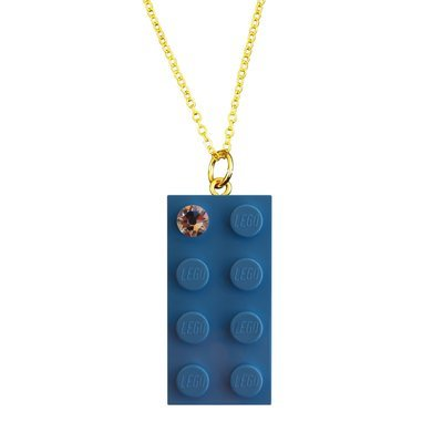 Light Blue LEGO® brick 2x4 with a 'Diamond' color SWAROVSKI® crystal on a Gold plated trace chain (18