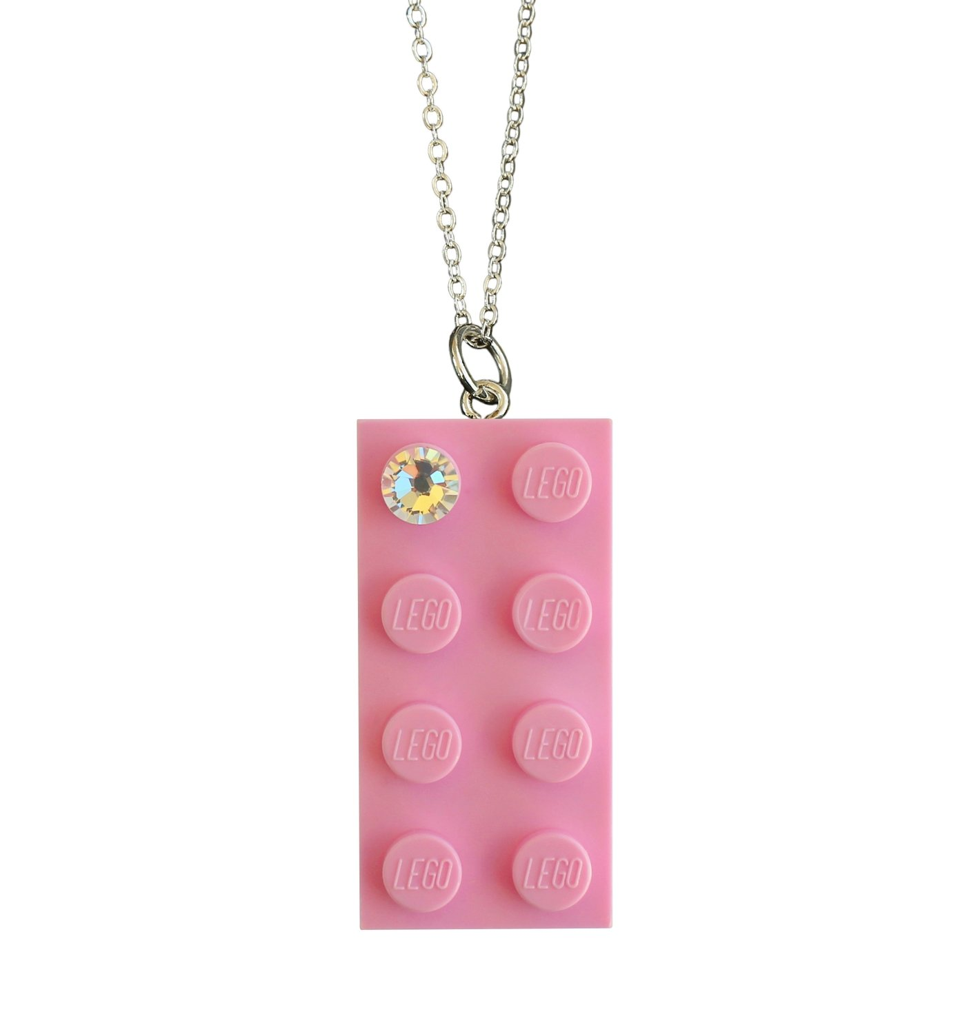 """Light Pink LEGO® brick 2x4 with a 'Diamond' color SWAROVSKI® crystal on a Silver plated trace chain (18"""" or 24"""")"""