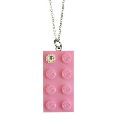 Light Pink LEGO® brick 2x4 with a 'Diamond' color SWAROVSKI® crystal on a Silver plated trace chain (18