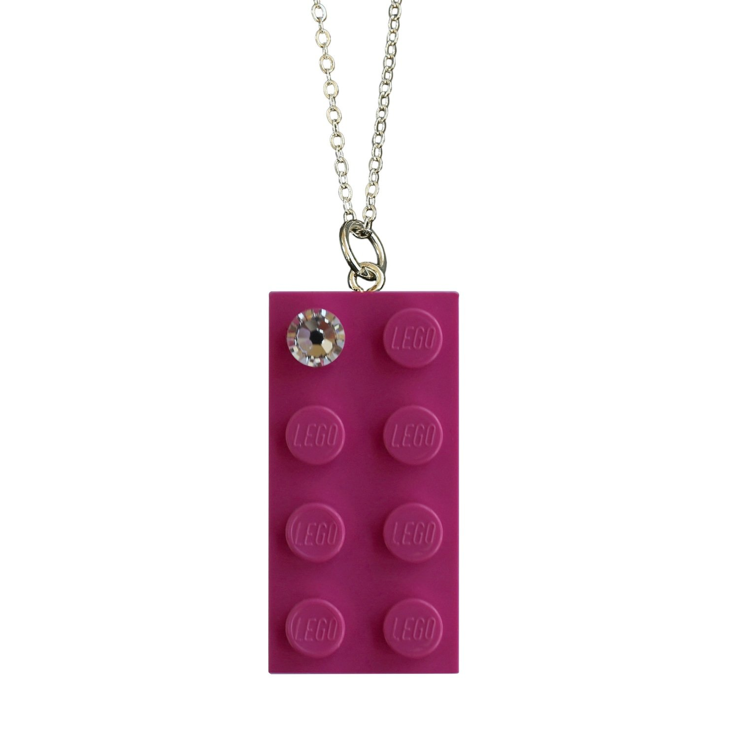 "Dark Pink LEGO® brick 2x4 with a 'Diamond' color SWAROVSKI® crystal on a Silver plated trace chain (18"" or 24"")"