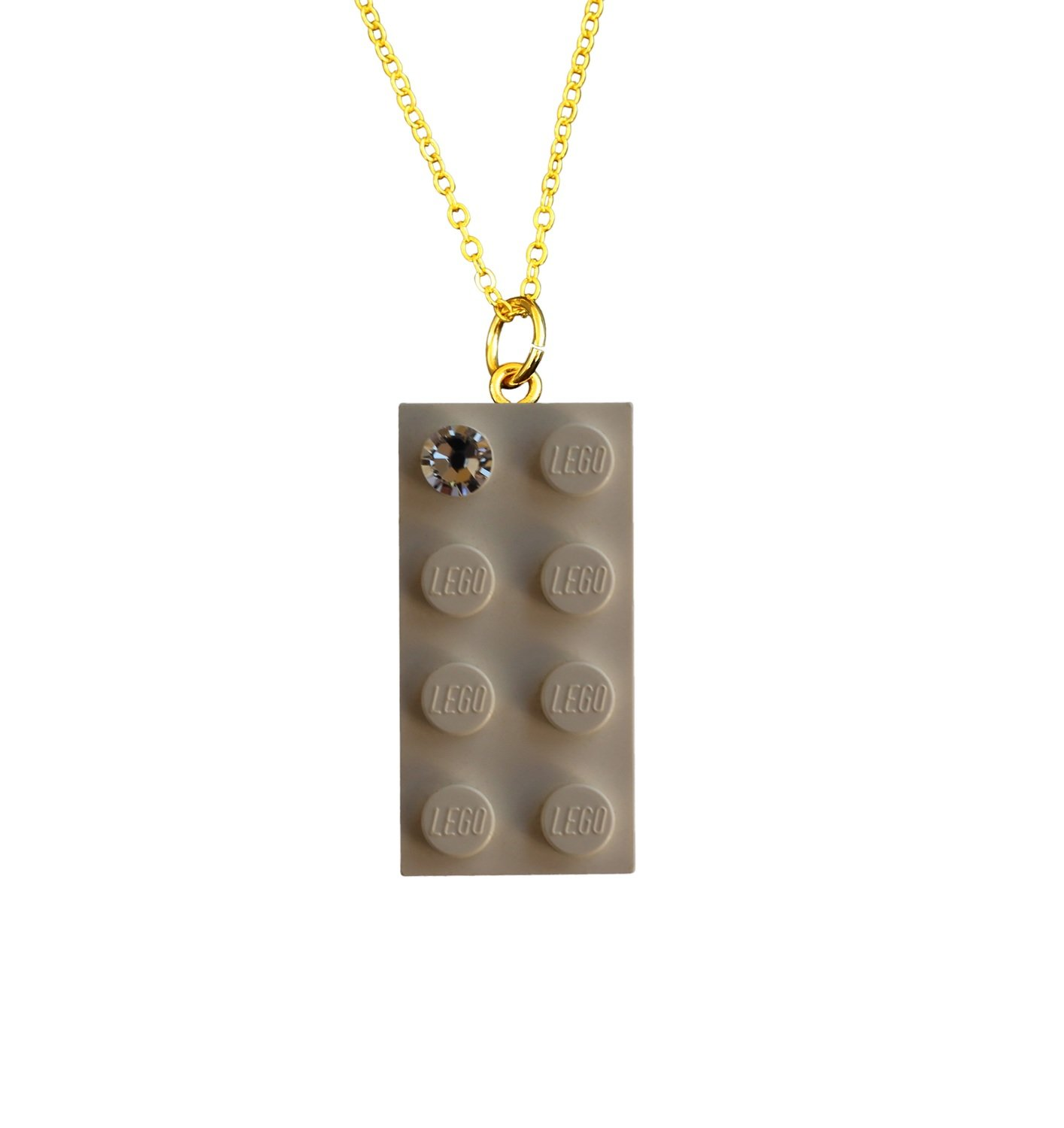 """White LEGO® brick 2x4 with a 'Diamond' color SWAROVSKI® crystal on a Gold plated trace chain (18"""" or 24"""")"""