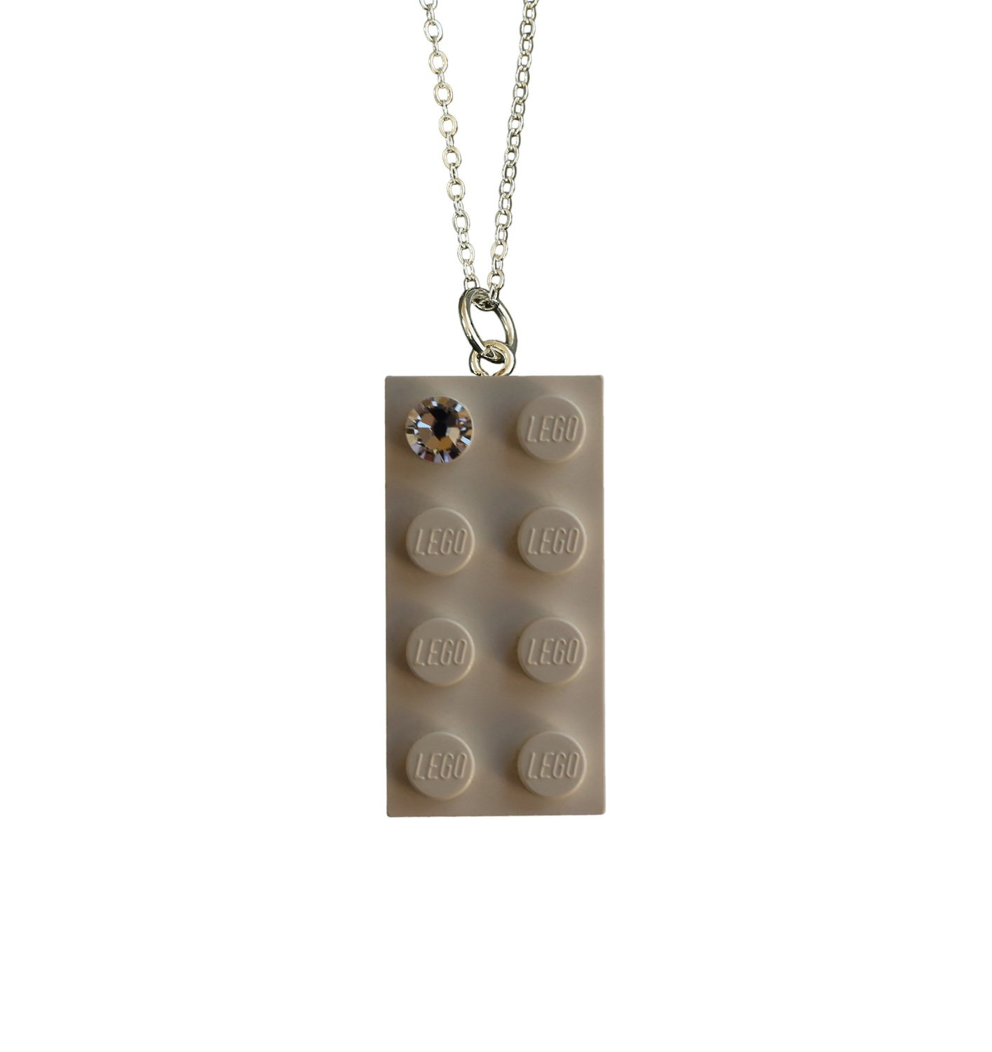 """White LEGO® brick 2x4 with a 'Diamond' color SWAROVSKI® crystal on a Silver plated trace chain (18"""" or 24"""")"""