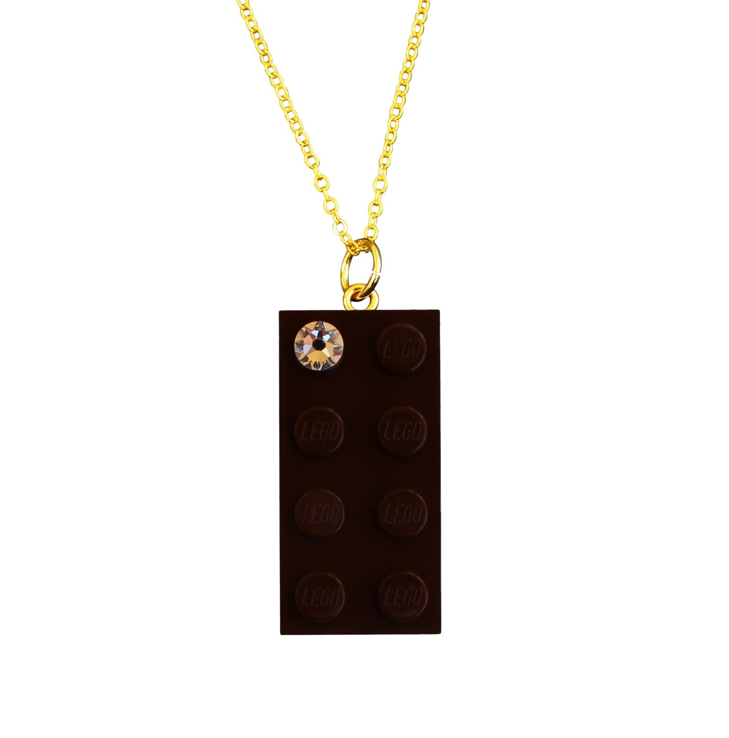 """Brown LEGO® brick 2x4 with a 'Diamond' color SWAROVSKI® crystal on a Gold plated trace chain (18"""" or 24"""")"""