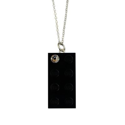 Black LEGO® brick 2x4 with a 'Diamond' color SWAROVSKI® crystal on a Silver plated trace chain (18