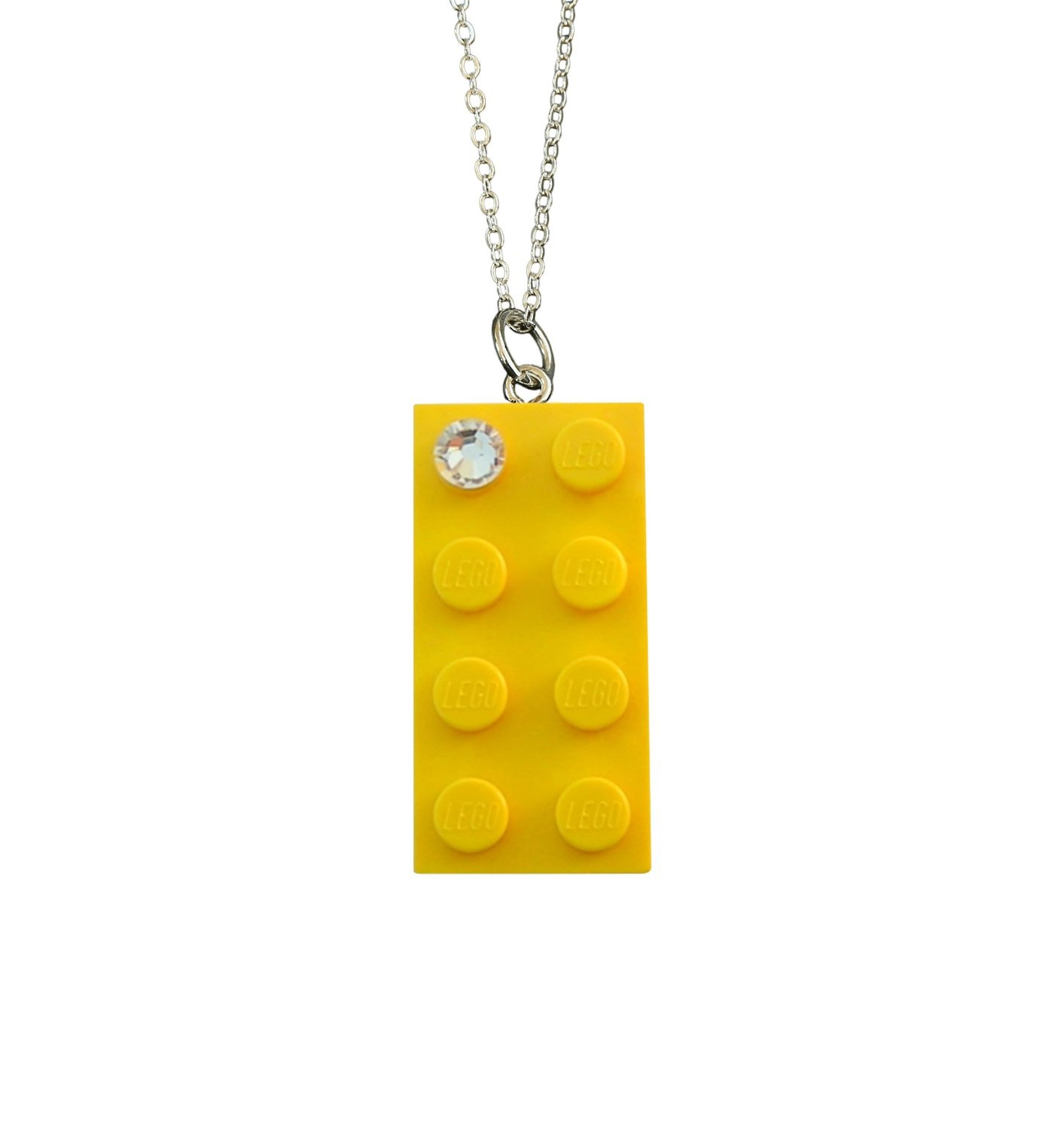 """Yellow LEGO® brick 2x4 with a 'Diamond' color SWAROVSKI® crystal on a Silver plated trace chain (18"""" or 24"""")"""
