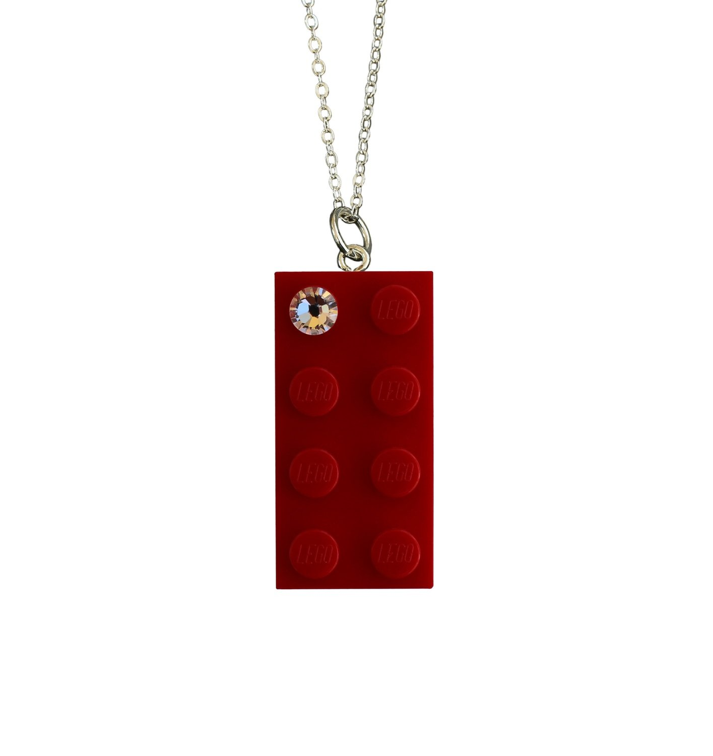 """Red LEGO® brick 2x4 with a 'Diamond' color SWAROVSKI® crystal on a Silver plated trace chain (18"""" or 24"""")"""