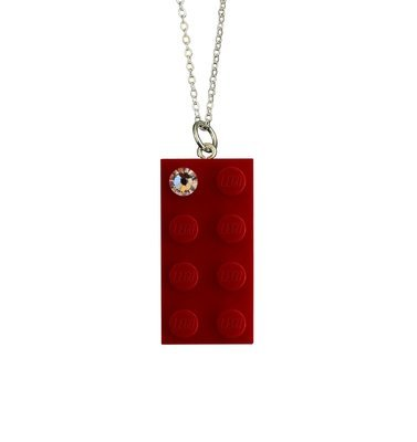 Red LEGO® brick 2x4 with a 'Diamond' color SWAROVSKI® crystal on a Silver plated trace chain (18