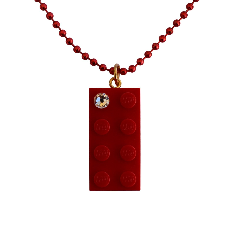 "Red LEGO® brick 2x4 with a 'Diamond' color SWAROVSKI® crystal on a 24"" Red ballchain"