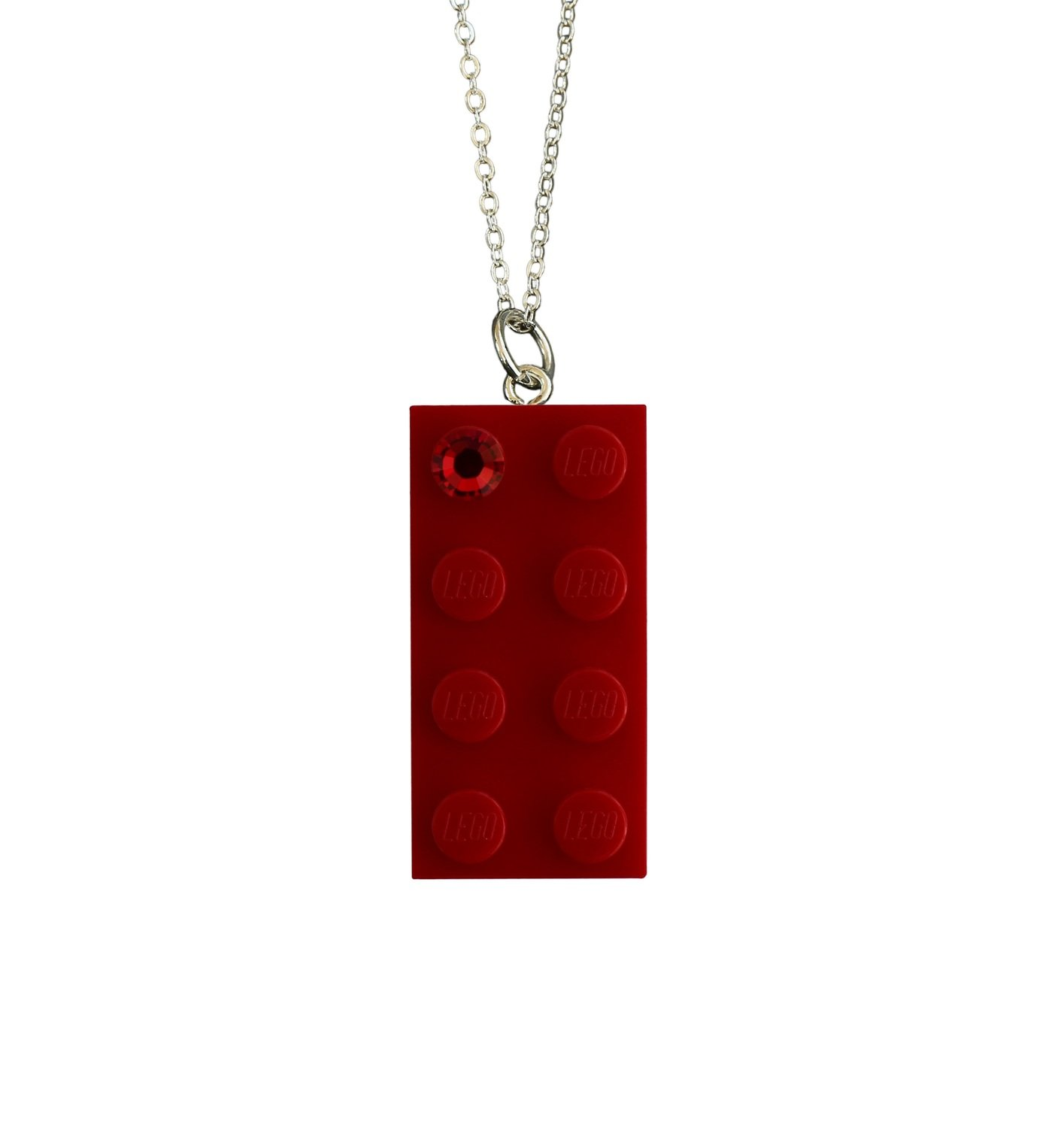 """Red LEGO® brick 2x4 with a Red SWAROVSKI® crystal on a Silver plated trace chain (18"""" or 24"""")"""