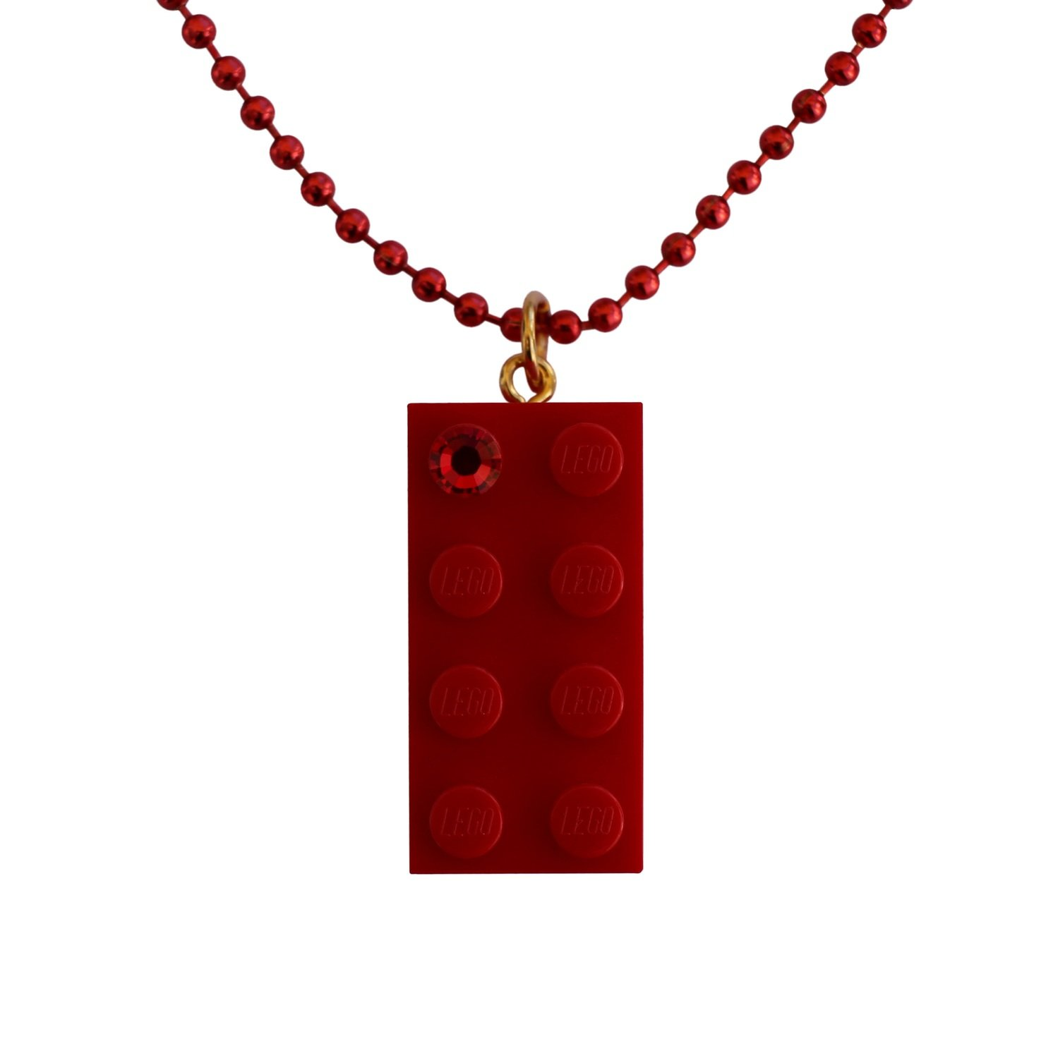"Red LEGO® brick 2x4 with a Red SWAROVSKI® crystal on a 24"" Red ballchain"