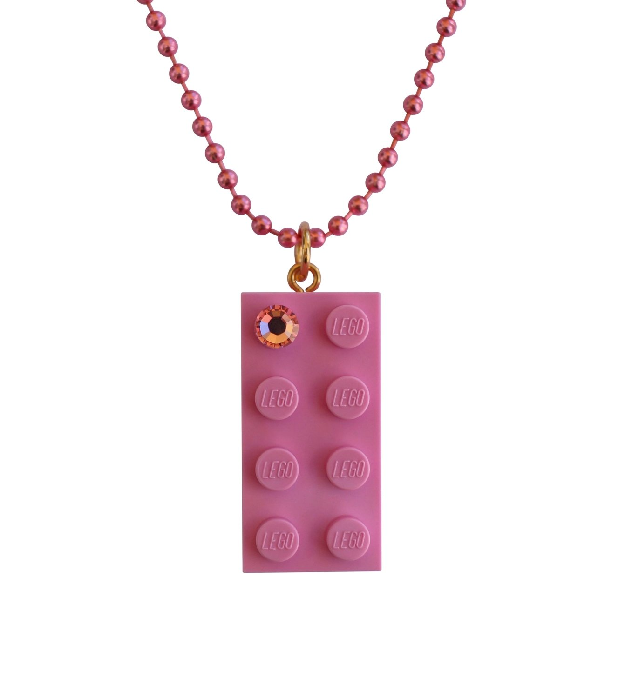 "Light Pink LEGO® brick 2x4 with a Pink SWAROVSKI® crystal on a 24"" Pink ballchain"