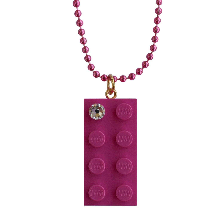"Dark Pink LEGO® brick 2x4 with a 'Diamond' color SWAROVSKI® crystal on a 24"" Pink ballchain"