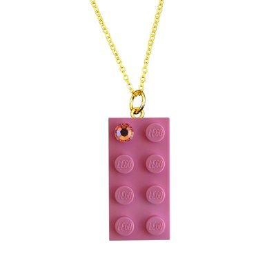 Light Pink LEGO® brick 2x4 with a Pink SWAROVSKI® crystal on a Gold plated trace chain (18