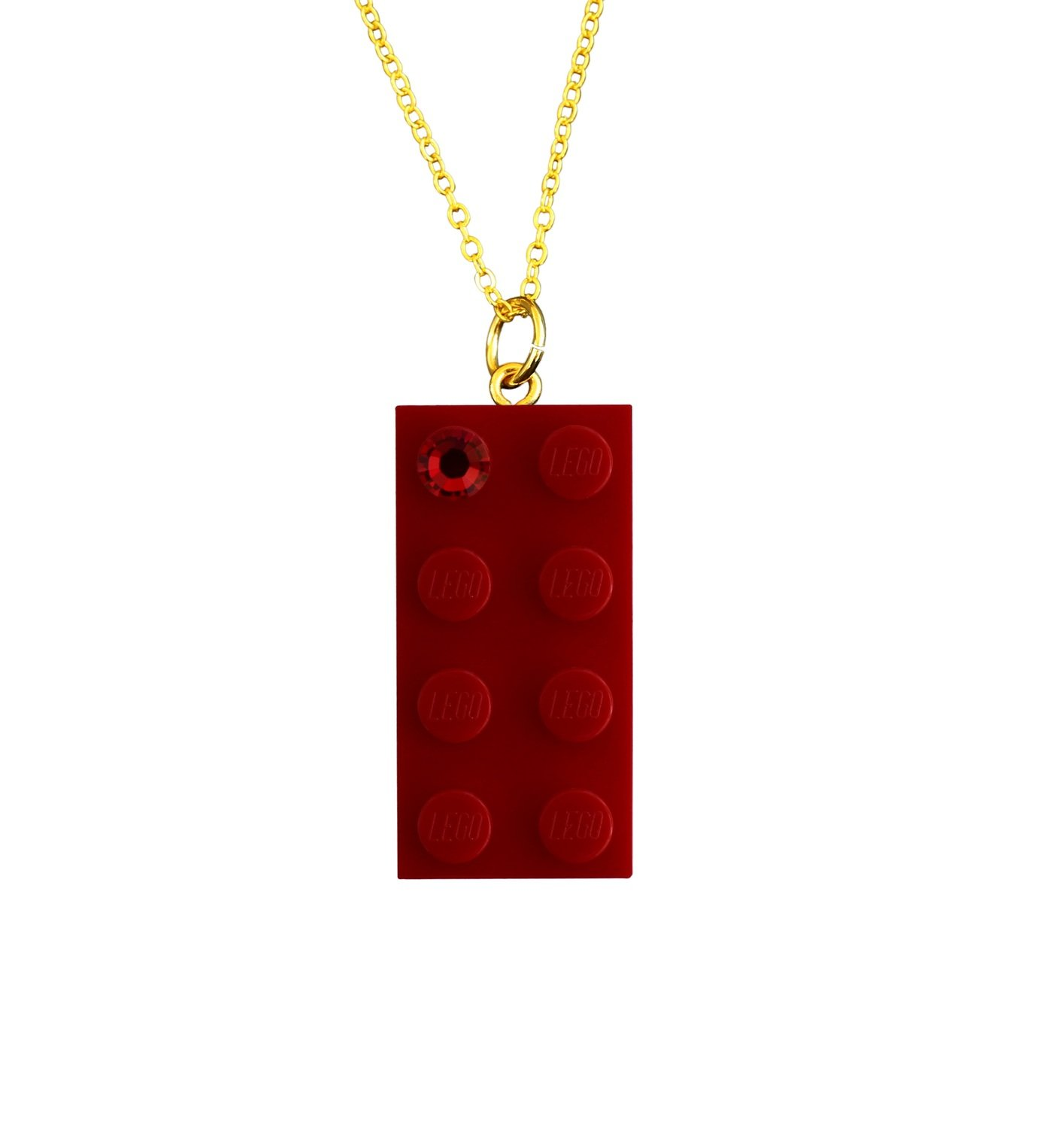 """Red LEGO® brick 2x4 with a Red SWAROVSKI® crystal on a Gold plated trace chain (18"""" or 24"""")"""