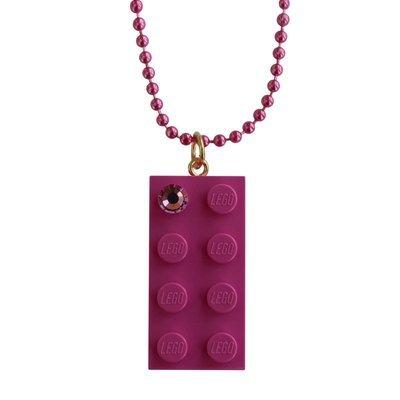 Dark Pink LEGO® brick 2x4 with a Pink SWAROVSKI® crystal on a 24