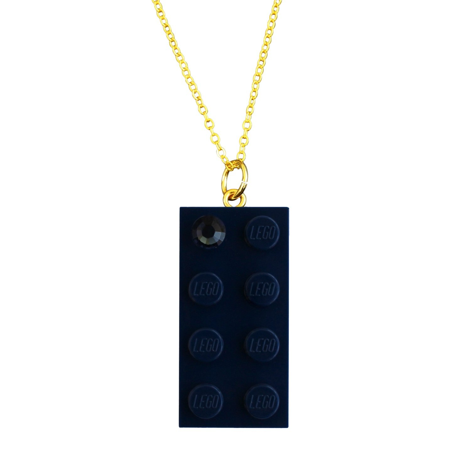 """Navy Blue LEGO® brick 2x4 with a Blue SWAROVSKI® crystal on a Gold plated trace chain (18"""" or 24"""")"""