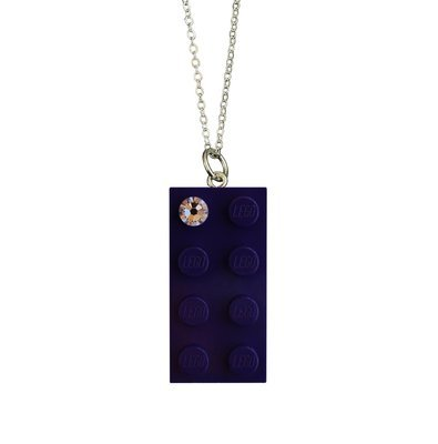Purple LEGO® brick 2x4 with a 'Diamond' color SWAROVSKI® crystal on a Silver plated trace chain (18