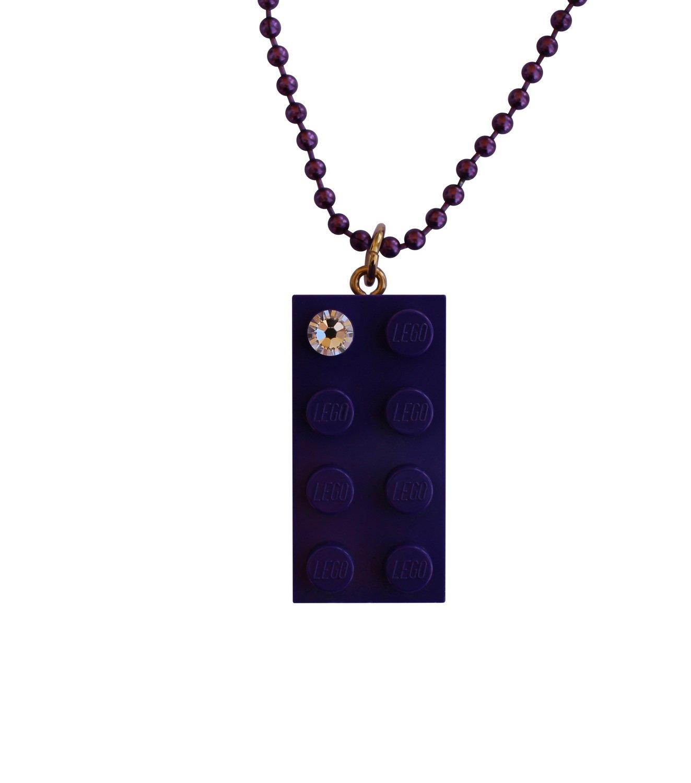 "Purple LEGO® brick 2x4 with a 'Diamond' color SWAROVSKI® crystal on a 24"" Purple ballchain"