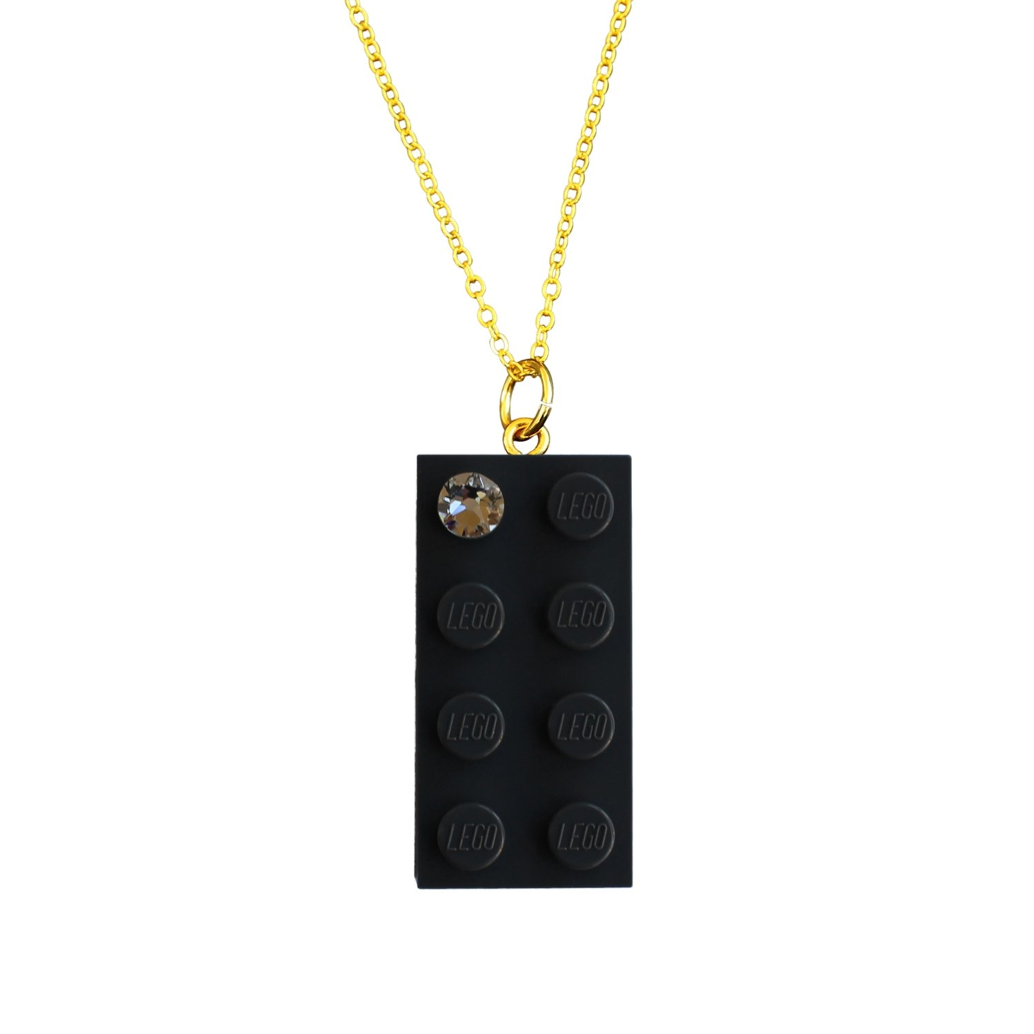 "Gray LEGO® brick 2x4 with a 'Diamond' color SWAROVSKI® crystal on a Gold plated trace chain (18"" or 24"")"