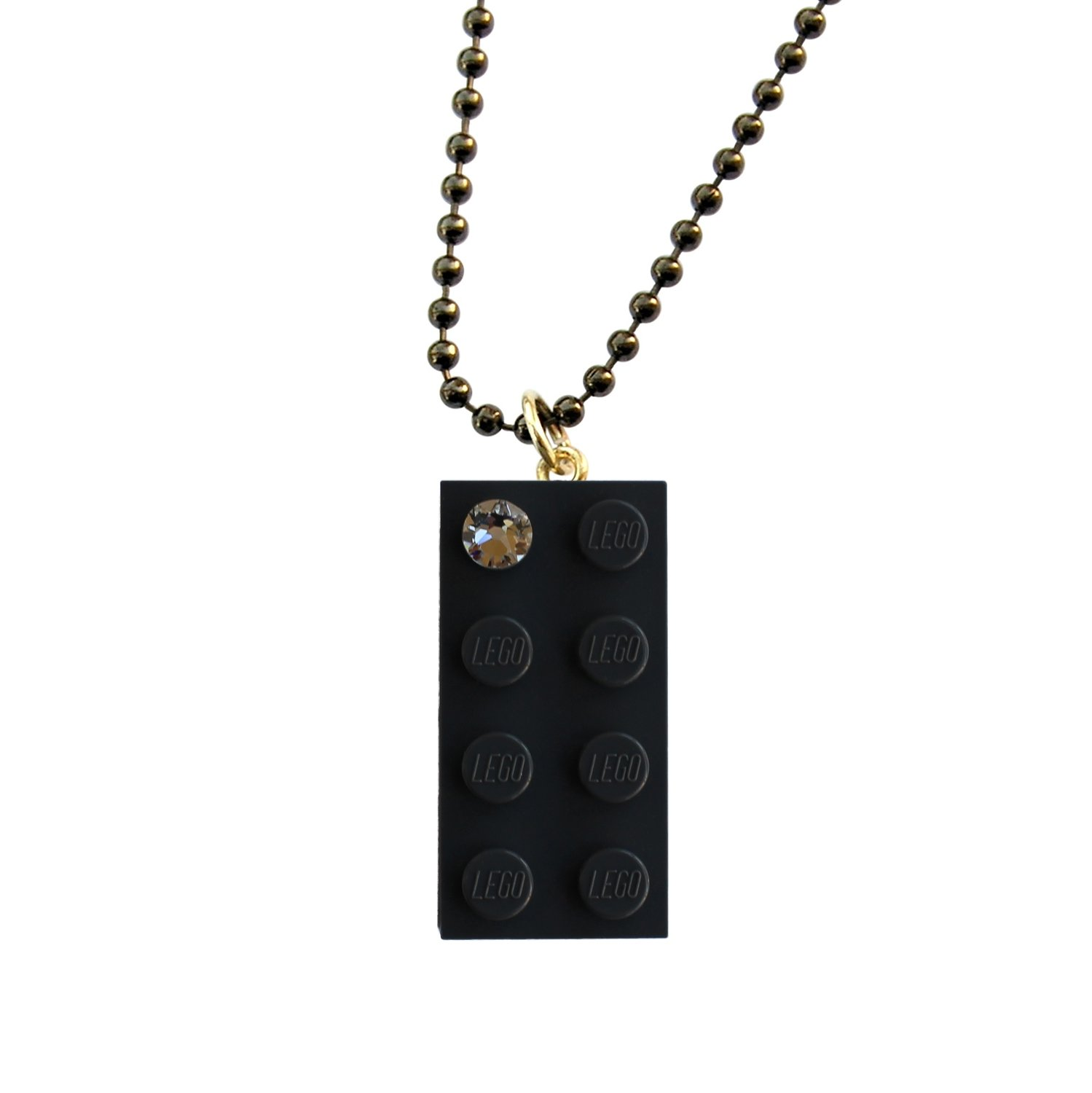 "Gray LEGO® brick 2x4 with a 'Diamond' color SWAROVSKI® crystal on a 24"" Gray ballchain"