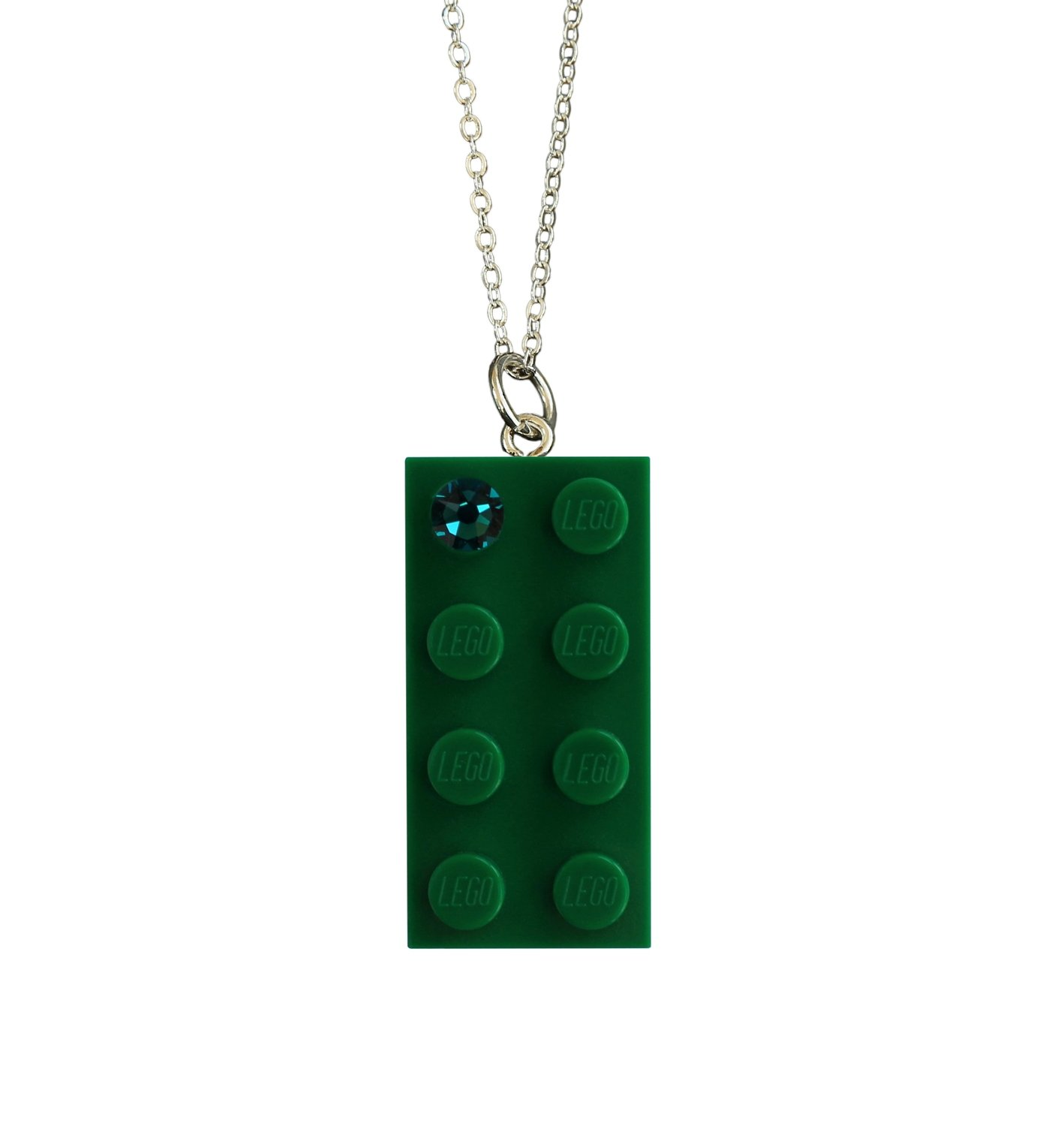 """Dark Green LEGO® brick 2x4 with a Green SWAROVSKI® crystal on a Silver plated trace chain (18"""" or 24"""")"""