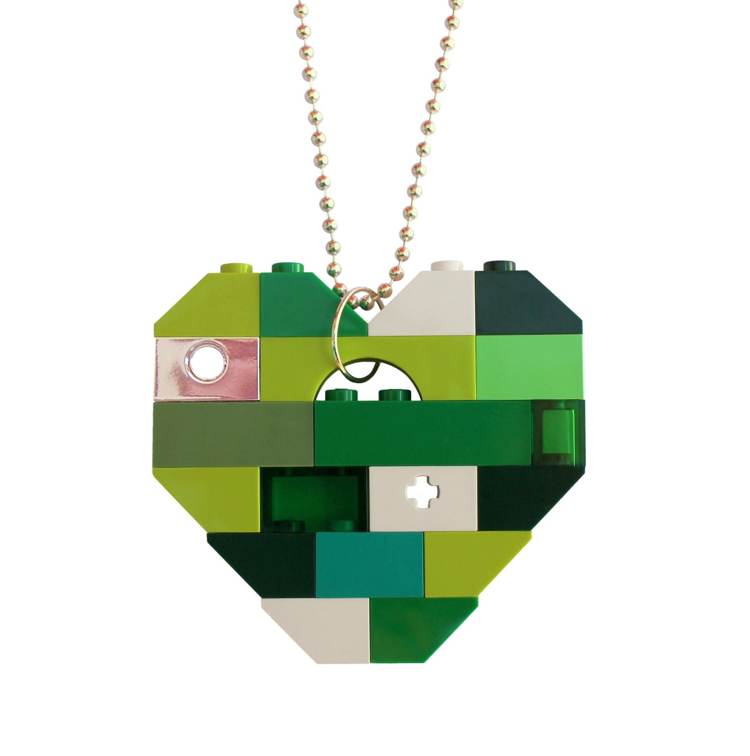 """Collectible heart pendant (Single thickness) Model 3 - made from LEGO® bricks on a 24"""" Silver plated ballchain - LUCK - SAINT PATRICK'S DAY"""