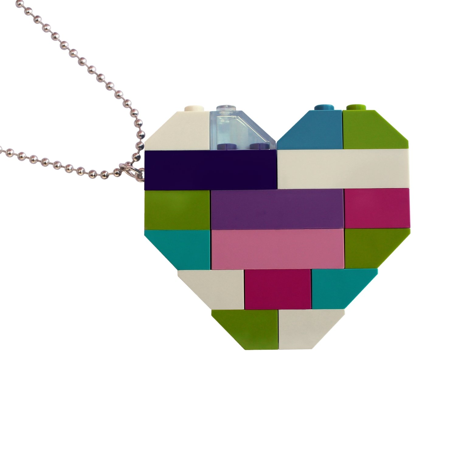 "​​Collectible heart pendant (Double thickness) Model 4 - made from LEGO® bricks on a 24"" Silver plated ballchain"