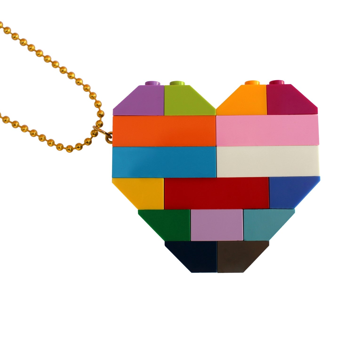 "​​Collectible heart pendant (Double thickness) Model 5 - made from LEGO® bricks on a 24"" Gold plated ballchain - COLORFUL"